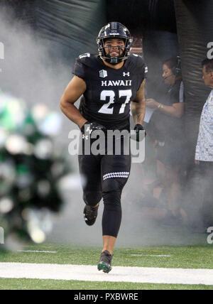 October 20, 2018 - Hawaii Rainbow Warriors linebacker Solomon Matautia #27 during a game between the Hawaii Rainbow Warriors and the Nevada Wolf Pack at Aloha Stadium in Honolulu, HI - Michael Sullivan/CSM - Stock Photo