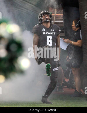 October 20, 2018 - Hawaii Rainbow Warriors defensive back Eugene Ford #8 during a game between the Hawaii Rainbow Warriors and the Nevada Wolf Pack at Aloha Stadium in Honolulu, HI - Michael Sullivan/CSM - Stock Photo