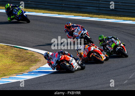 Twin Ring Motegi, Motegi, Japan. 21st Oct, 2018. MotoGP of Japan, race day; Andrea Dovizioso, Marc Marquez, Cal Crutchlow, Jack Miller, Valentino Rossi during the MotoGP race Credit: Action Plus Sports/Alamy Live News - Stock Photo