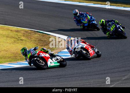 Twin Ring Motegi, Motegi, Japan. 21st Oct, 2018. MotoGP of Japan, race day; Cal Crutchlow, Jack Miller, Valentino Rossi, Alex Rins during the MotoGP race Credit: Action Plus Sports/Alamy Live News - Stock Photo