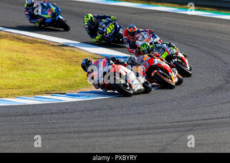 Twin Ring Motegi, Motegi, Japan. 21st Oct, 2018. MotoGP of Japan, race day; Andrea Dovizioso, Marc Marquez, Cal Crutchlow, Jack Miller, Valentino Rossi, Alex Rins during the MotoGP race Credit: Action Plus Sports/Alamy Live News - Stock Photo