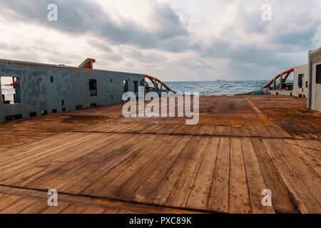 Anchor handling Tug Supply AHTS vessel deck - Stock Photo