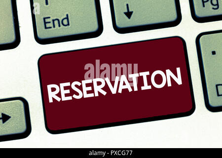 Handwriting text Reservation. Concept meaning Arrangement made so a seat somewhere is kept for someone. - Stock Photo