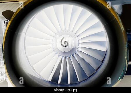 background, blade turbine engine civil aircraft closeup - Stock Photo
