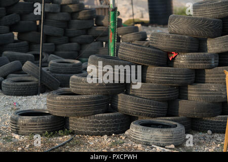 Tyres ready to be burnt in the Bedouin village of Khan al-Ahmar, West Bank, OPT - Stock Photo