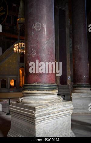 Porphyry column of natural stone in the church of Saint Sophia - Stock Photo