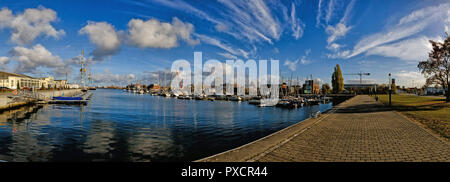 Panorama of the marina or harbour in the city of Wismar in Germany baltic sea - Stock Photo