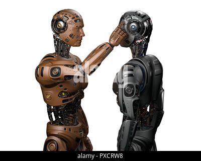 Futuristic robot man touching the head of another identical robot or asking another cyborg to use his brain. Isolated on white background. 3D Render. - Stock Photo