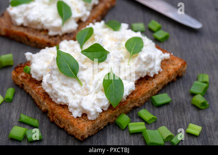 Whole grain bread with feta cheese and herbs. - Stock Photo
