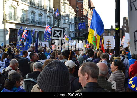 Anti-Brexit, People's Vote march in London. October 20, 2018. The protest attracted about 675,000 people. Demonstrators do not want UK to leave the EU - Stock Photo