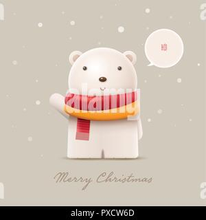 Cute polar bear say hi. Vector character illustration. Elements are layered separately in vector file. - Stock Photo