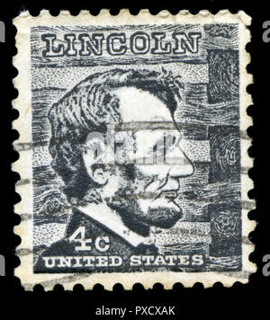 Postmarked stamp from United States of America (USA) in the Famous Americans series issued in 1966 - Stock Photo