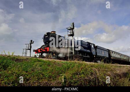 GWR locomotive No 6023 King Edward II leaves Goodrington for Kingswear on the Dartmouth Steam Railway. - Stock Photo