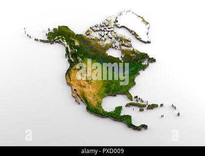 Realistic 3D Extruded Map of North America (North American Continent,including Central America) - Stock Photo