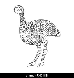 Stylized emu bird isolated on white background. Hand drawn ostrich in tribal style for children for coloring book. - Stock Photo