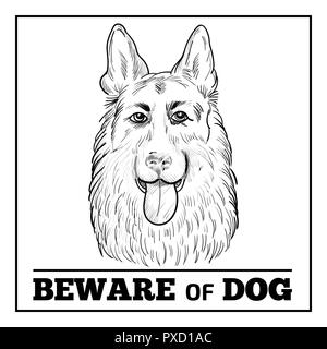 German Shepherd portrait with beware sign. Watchdog face hand drawn sketch isolated on white background. Beware of dog sign. - Stock Photo