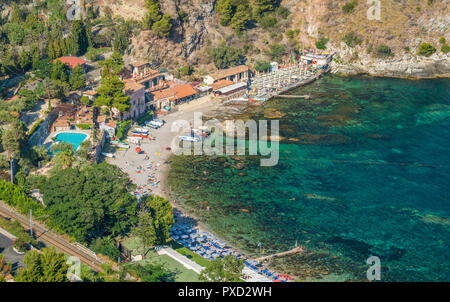 Scenic sight in Taormina, famous beautiful city in the Province of Messina, Sicily, southern Italy. - Stock Photo
