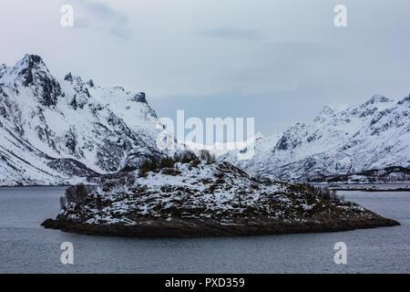 beautiful view of lofoten islands in winter time norway - Stock Photo