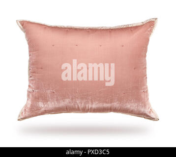 Pillow of velor fabric, isolated on white background - Stock Photo