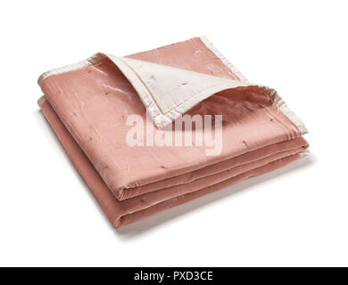 Pink blanket made of velor fabric, neatly folded, isolated on white background - Stock Photo