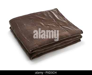 Brown blanket made of velor fabric, neatly folded, isolated on white background - Stock Photo
