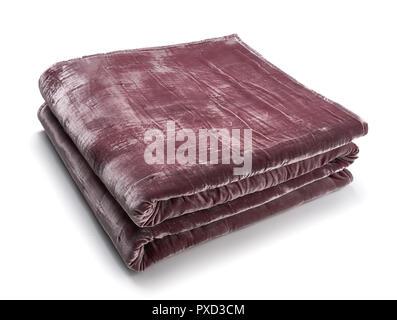 Pink blanket made of velor fabric, neatly folded, isolated on white background - Stock Photo