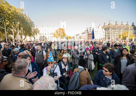 Crowds filled Parliament Square during the People's Vote march calling for a second Brexit referendum. - Stock Photo