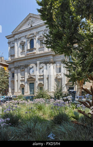 ROME, ITALY - JUNE 23, 2017: Sunset view of Basilica San Carlo ai Catinari in Rome, Italy - Stock Photo