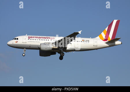 Germanwings Airbus A319-100 with registration D-AKNQ on short final for runway 01 of Brussels Airport. - Stock Photo