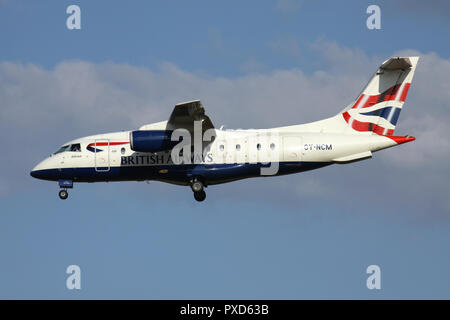 Sun-Air of Scandinavia Dornier 328JET in British Airways livery with registration OY-NCM on short final for runway 01 of Brussels Airport. - Stock Photo