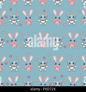 Baby toys seamless pattern. Teddy bear and bunny. Child concept clothes texture. - Stock Photo