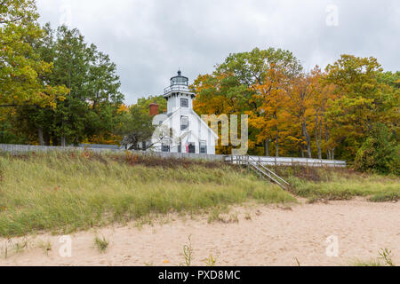 Old Mission Point LIghthouse on an autumn day. Traverse City, Michigan, USA. - Stock Photo