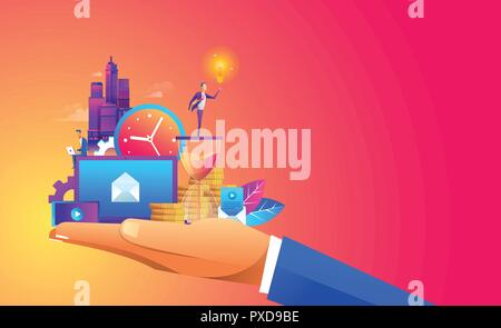 Hand holding a business ,digtal object and with a contemporary smart city and apps icons. Augmented reality and internet of things concept - Stock Photo