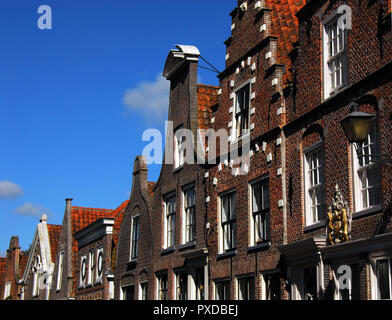Beautiful traditional architectural details on a residential street in the charming, historical village of Edam, The Netherlands. - Stock Photo
