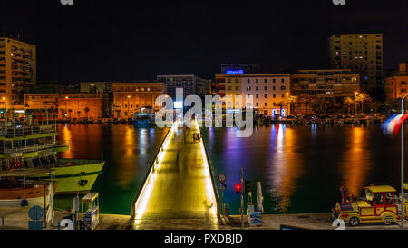 City Bridge (Gradski most) at night looking from the old city towards the new town.  Zadar, Dalmatia, Croatia - Stock Photo
