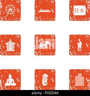 Chinese style icons set, grunge style - Stock Photo