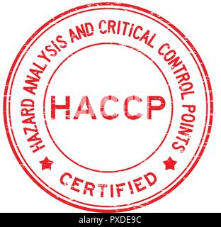 Grunge red HACCP (Hazard Analysis and Critical Control Points) certified round rubber stamp - Stock Photo