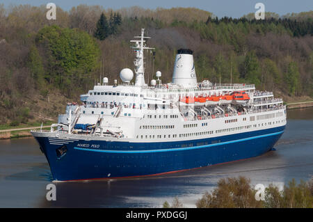 Cruiseship Marco Polo in the Kiel canal - Stock Photo