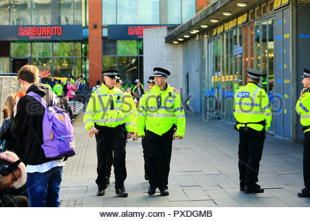 A strong police presence at Stand Up To Racism Demonstration Piccadilly Gardens Manchester UK Afternoon - Stock Photo