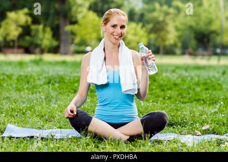 Refreshment after exercise - Stock Photo