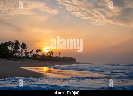 Kahandamodara beach at sunrise, Sri Lanka - Stock Photo