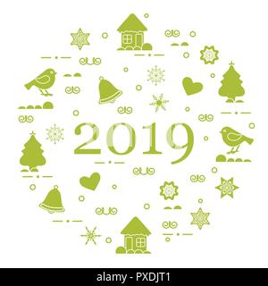 Happy New Year 2019 card. Christmas trees, birds, houses, gingerbread, bells, stars, hearts, snowflakes. - Stock Photo