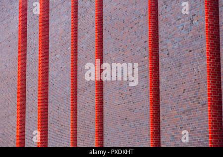 Katowice, Poland: modern brick wall façade of Polish National Radio Symphony Orchestra (NOSPR) - Stock Photo
