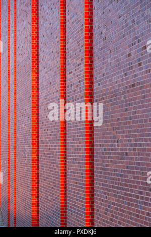 Katowice, Poland: modern brick wall façade of Polish National Radio Symphony Orchestra (NOSPR) - Stock Photo