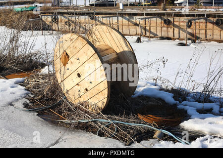 Construction, repair, tools - Coil spool for a cable - Stock Photo