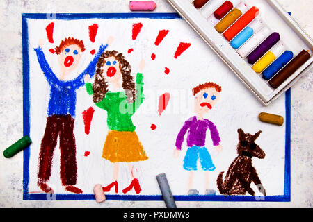 Colorful drawing: quarreling parents and their sad son - Stock Photo