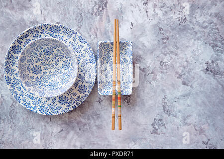 Empty traditional set tableware from Asia. - Stock Photo