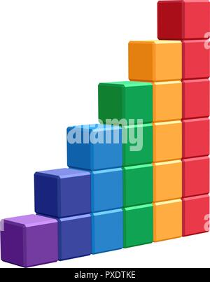stack of cubes that makes a stairway. colorful geometric vector element for business or other design - Stock Photo
