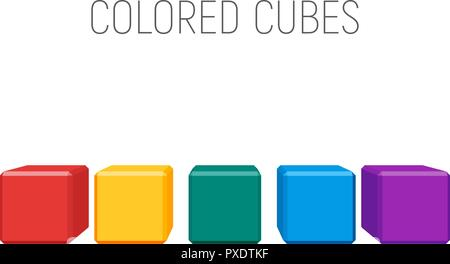 colored cubes in a row. geometric shapes with bevels. vector element for business, logo or other design - Stock Photo