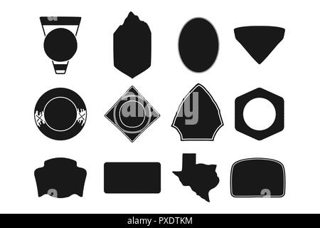 Set of black camping badge shapes. Included Texas state silhouette icon. Stock vector Objects isolated on white background. - Stock Photo
